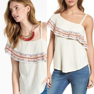 Lucky Bramd Embroidered One-Shoulder Blouse